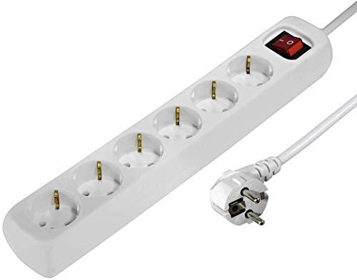 Hama Steckdosenleiste 6-fach (Mehrfachsteckdose mit Save Energy-Schalter zum Stromsparen, Steckplätze 45 Grad gedreht, Kabel 1,4m, GS geprüft) weiß