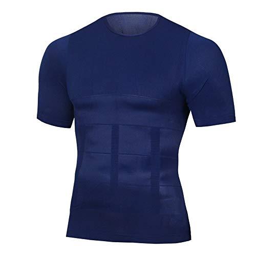 2019 Mannen Body Shapers Strakke Skinny mouwloze shirt Fitness Elastische Beauty Buik Tank Tops Shape Vesten Slimming Boobs Gym Vest ZHQHYQHHX (Color : 94 Blue, Size : XL)