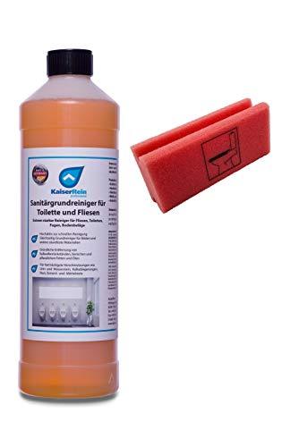 KaiserRein Urinsteinlöser Extra stark Sanitärgrundreiniger I WC Reiniger für Toilette, WC, Boden-Fliesen 1L Konzentrat mit Schwamm