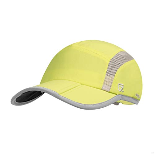GADIEMENSS Reflective Foldable Running Cap Quick Drying Outdoor Sports Hat 40+ UPF Inhibit UV Mesh Race Performance Water Repellency Baseball Cap Adjustable Fruit Green