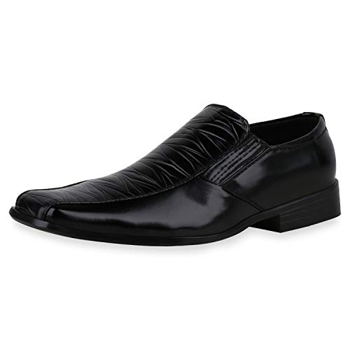 SCARPE VITA Herren Business Slippers Prints Profilsohle Klassische Schuhe Blockabsatz Schlupfschuhe Elegante Slip Ons 196255 Schwarz Black 43