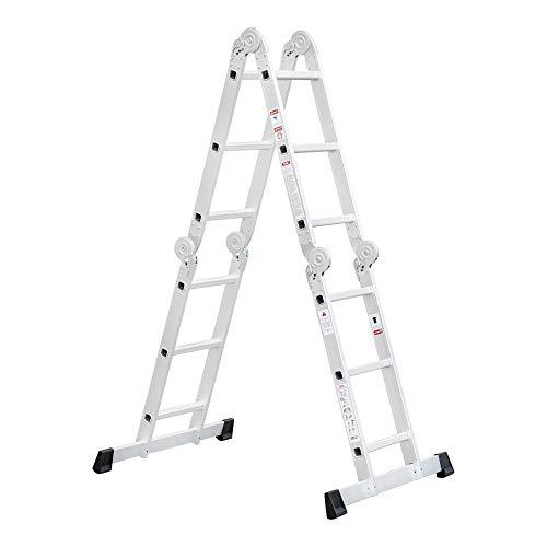 STIER Mehrzweckleiter aus Aluminium, 3,37 m, 12 Stufen, 4x3 Sprossen, Vielzweckleiter, Haushaltsleiter, Stehleiter, Tragfähigkeiten 150 kg, 6 Aufbauvarianten