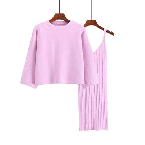 Dames Truien en Jumpers Avocado Groen Herfst Koreaanse Stijl Losse Trui Set Dames Tweedelige Rok Effen Kleur Trui Trui, JUSTTIME Eén maat roze