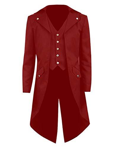 BellaPunk Kinder Jungen Steampunk Jacken Cosplay Frack Gothic Long Coat mit Tails (fünf Tasten) (Kinder 12, Rot)