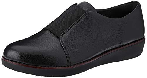 FitFlop Women's Laceless Derby Sneaker, Black, 9 M US