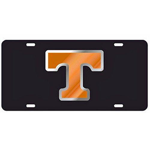 Tennessee Volunteers Black w/Orange & Mirror'T' Laser Cut License Plate