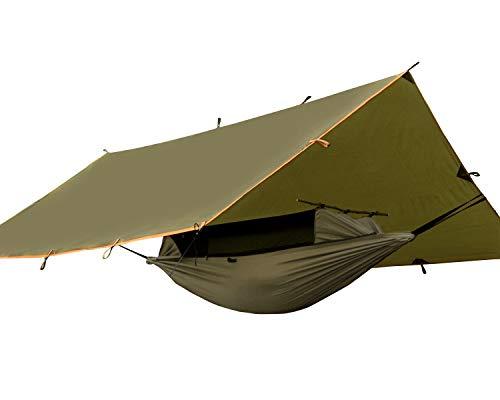 FREE SOLDIER Camping taktische Hängematte Tarp Kit-2 Person leichte wasserdichte tragbare Schaukel Schlaf Hängematte mit Moskitonetz Regen fliegen Zelt Plane Set und 2 x hängende Bänder für Wandern