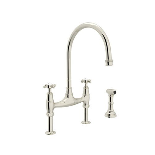 Rohl U.4718X-PN-2 Perrin and Rowe Deck Mount Bridge Kitchen Faucet with Sidespray with High C Spout and Cross Handles, Polished Nickel by Rohl