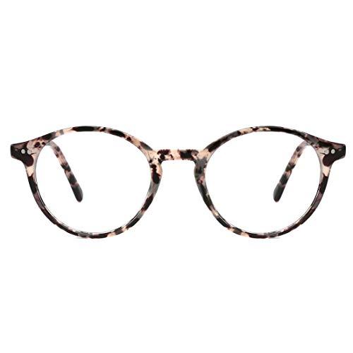 TIJN Blue Light Blocking Glasses Men Women Vintage Thick Round Rim Frame Eyeglasses (Marble)