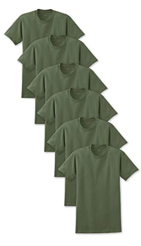Andrew Scott Big Man 6 Pack Military Army Green Crew Neck Short Sleeve T Shirts (3X-Large, 6 Pack- Military Khaki Green)