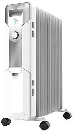 SIMMON Radiador Eléctrico de Aceite Ready Warm 5650 Space 360º White 9 Módulos, Bajo Consumo, 2000 W, 3 Niveles de Potencia, Protección contra sobrecalentamiento y antivuelco, Ruedas, 18 m2