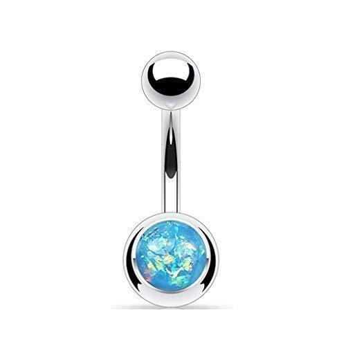 Tapsi´s Coolbodyart®| Bauchnabelpiercing Edelstahl Chirurgenstahl 316L Glitter Opal Aqua Blau