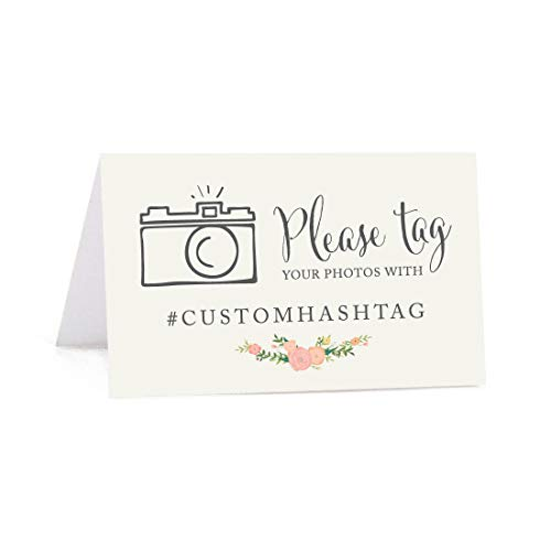 Andaz Press Personalized Hashtag Table Tent Place Cards, Double-Sided, Floral Roses, 20-Pack, Custom Hashtag for Social Media Instagram Facebook Photo Tagging