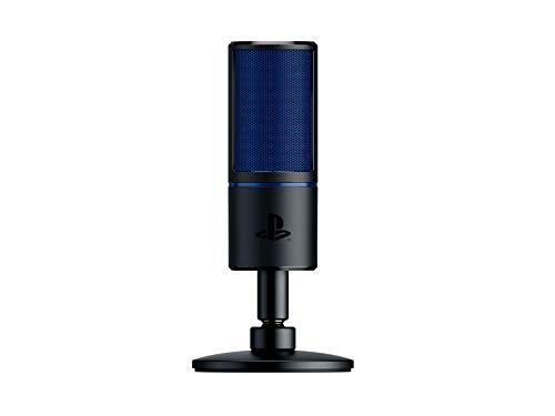 Razer Seiren X für PlayStation - USB Kondensator-Mikrofon für Streaming auf der PS4 und PS5 (Kompakt mit Schockdämpfer, Superniere Aufnahmemuster, Stumm-Taste) Schwarz-Blau