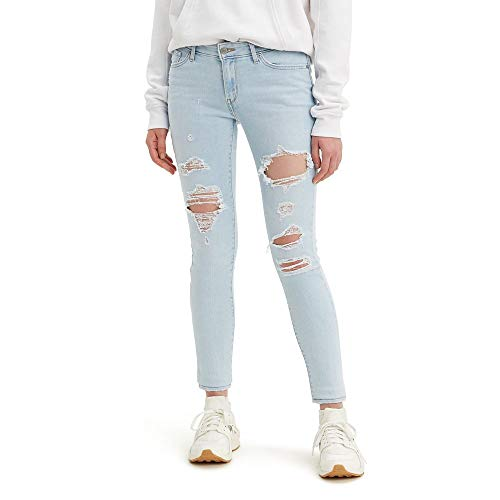 Levi's Damen 711 Skinny Jeans, Azzurro Trashed White Indigo, 58