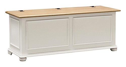 Pieffe Mobili Cipolla Cassapanca Baule, Faggio, Bianco, 120x42x50 cm