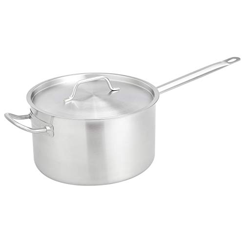 AmazonCommercial 10 Qt Stainless Steel AluminumClad Straight Sided Sauce Pan with Cover