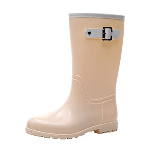 MOTOCO wasserdichte Damen Regenstiefel Easy On & Off Half Length Knöchel-Gummistiefel für Damen(36 EU,Weiß)