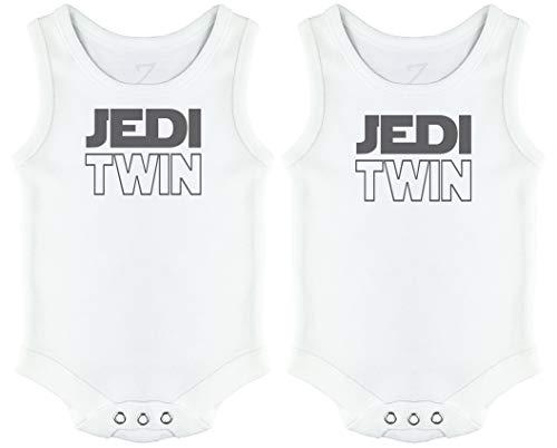 Jedi Twins Camisetas de Tirantes bebés Gemelo, Regalo para Gemelo del bebé - 3-6 Meses Blanco