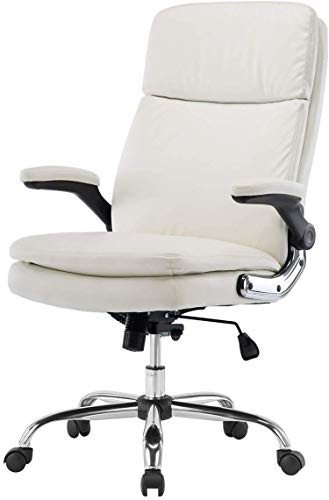 SP Executive Office Chair High Back PU Leather Desk Chair with Flip-up Arms and Thick Padding Comfortable Computer Chairs for Adult, White
