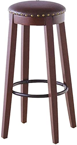 KMILE Bar Taburete, Cocina Barra de Desayuno Taburete B-Sillas Creativo Retro Bar Taburete Solid Wood + PU + Tubo de Hierro Casual Comfort Bar Cafe Taburete Práctico Hechos High (Color : Default)