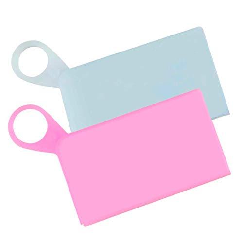 Sicurezza Protezione Sanitaria Set 2 pezzi Custodia Silicone per mascherine, Mask Storage, Astuccio Portatile, Organizer per borsa, Mask Bag Set (Rosa e Bianco)