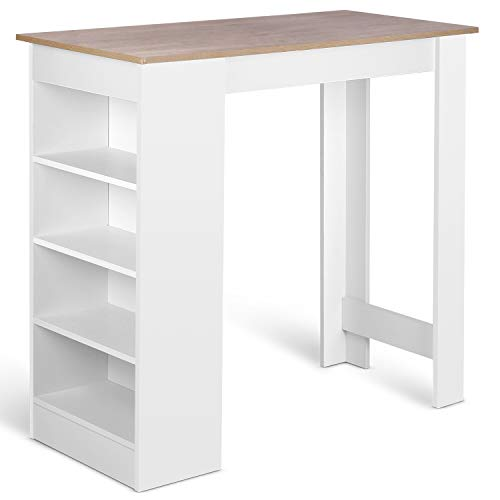 Amzdeal Tavoli da Bar Bianco, Tavolo Alto da Bar con 4 Scaffali Tavolino in Legno, Tavolino da bar per Cucina Bancone, 112 x 50 x 103,5 cm