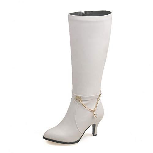 CELNEPHO - Botas de tacón alto para mujer con cremallera de punta punta antideslizante, color Blanco, talla 41 EU