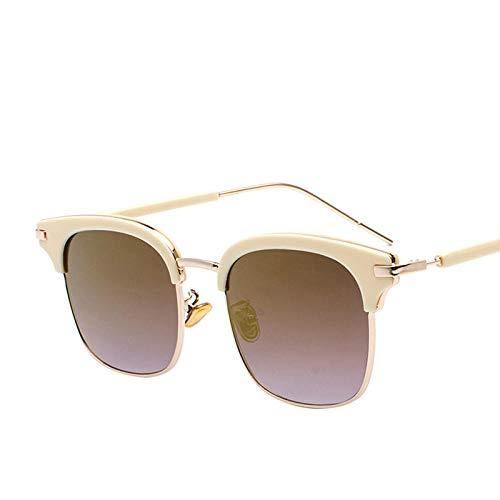 ZYIZEE Gafas de Sol Gafas de Sol cuadradas Semi-sin Montura para Mujeres Hombres Gafas de conducción con Espejo Gafas de Sol Unisex-E