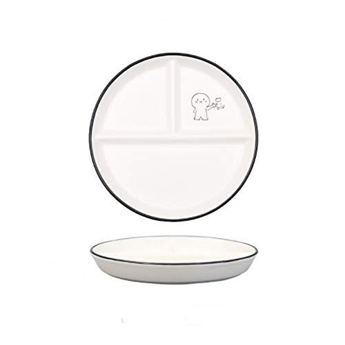 Plato de cena Disco para niños Placa de cerámica Placa de cerámica Placa de estudiante Placa de división Placa reductor de grasa Tres placa de compartimento Hogar Cubertería, Vajilla y Cristalería