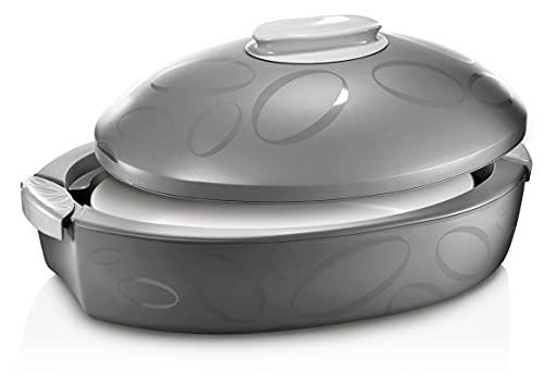 Thermotresor Keramikschale (Grau) - Zum Kühlen und Warmhalten von Speisen bis zu 5h | Thermobehälter | Thermoschüssel mit Deckel | Warmhaltetopf groß 3 Liter | Sehr geeignet zum Grillen