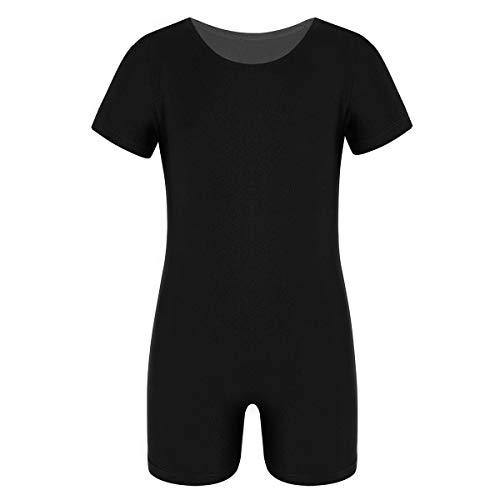 inlzdz Unisex Girls Boys Ballet Dance Gymnastic Active Sports Leotard Short Sleeves Solid Color Stretchy Unitard Black 8
