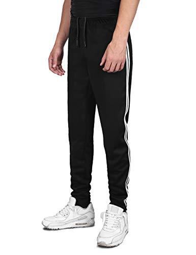 DISHANG Men's Joggers Track Pants 2 Stripes Athletic Running Jogging Bottoms Multi Pockets Slim Fit Sweatpants (XXL) Black