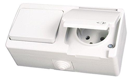 IP54 stopcontact met schakelaar voor vochtige ruimtes, opbouw, wit