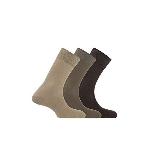 Kindy Socken, Baumwolle, 3 Stück Gr. 43/46, Beige, Braun.