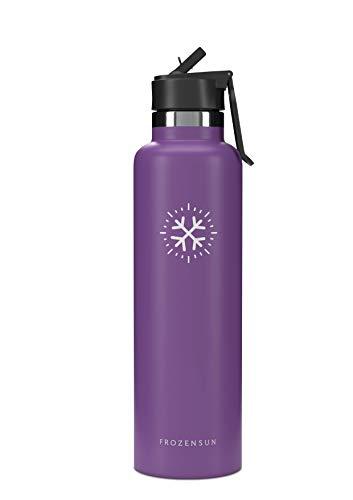 FROZENSUN Bouteille d'eau en INOX – pour Boissons Chaudes & Froides, Conception Isolée et sans Condensation, Bouche Standard & Straw Lid, Double Paroi, Étanche, sans BPA, 700 ML - Violet