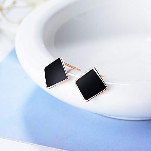 Pendientes Mujer Plata De Ley 925 Diseños De Moda Pendientes Geométricos Cuadrados Blancos Negros Joyería Regalos De Fiesta-Negro