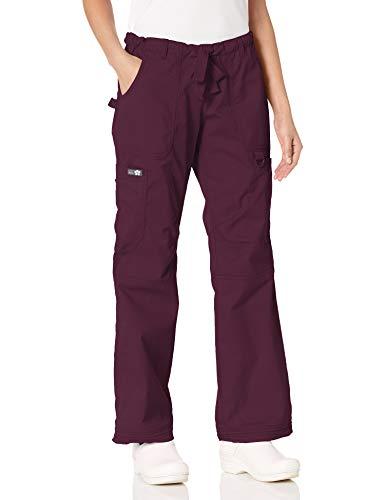 Koi Women's Lindsey Ultra Comfortable Cargo Style Scrub Pants (Petite Sizes), Merlot, XX-Small/Petite