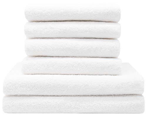 ZOLLNER Juego de Toallas de baño 6 Piezas, Blanco, algodón