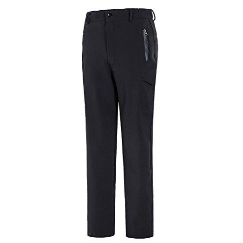 emansmoer Homme Pantalon Softshell Doublé Polaire Coupe-Vent Imperméable Outdoor Sport Pantalon de Camping Randonnée Escalade (Medium, Noir)