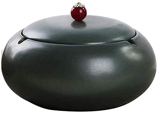 ETDWA Ceniceros de cerámica con Tapa Cenicero Redondo para Puros con Tanque de Agua para el hogar y la Oficina Soporte para Cenizas Gran Regalo para Fumadores - Verde