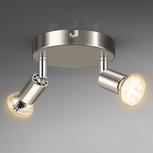 Unicozin Lámpara de Techo 2 LED focos Ajustables, diámetro de 110 mm, incluye 2 x 4W 400LM bombillas LED GU10 de luz blanca cálida 2900K, Color níquel mate, Para cocina salón o dormitorio