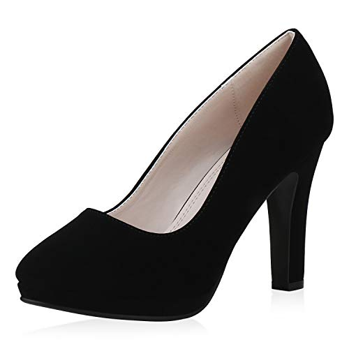SCARPE VITA Damen Pumps High Heels Klassisch Absatzschuhe Leder-Optik Schuhe Stiletto Party Abendschuhe 193527 Schwarz Total 37