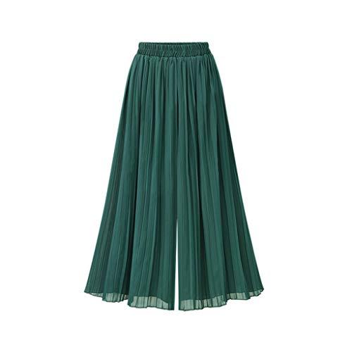 WOZOW Stoffhose Freizeithose Damen Weites Bein Palazzo Solid Falten Gefaltet Plissee Stoffhose Chiffon Swing High Waist Casual Capri Crop Trousers Hosen (XL,Grün)