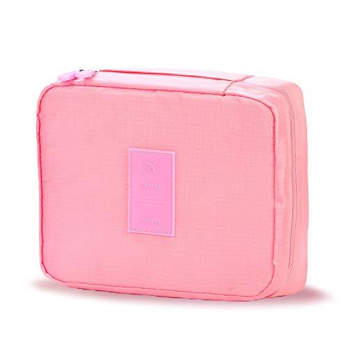 トイレタリーバッグ トラベルポーチ コスメポーチ 大容量 旅行用品収納バッグ 防水 メイクブラシ入れ付き 軽量 持ち運び便利 出張 海外 旅行グッズ 育児グッズ ピンク