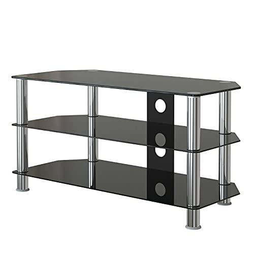 HAZYJT Mueble para TV, mesa de TV de cristal curvado, escritorio de 3 capas con unidad de almacenamiento, aparador de muebles en sala de estar y dormitorio, 100 cm