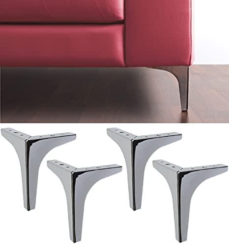 IPEA 4X Patas para Sofá,Mobiliario,Armario,Sillón Modelo Meta - Juego de 4 Patas de Hierro para decoración - Diseño Moderno y Elegante - Color Plateado Cromado - Altura 130 mm