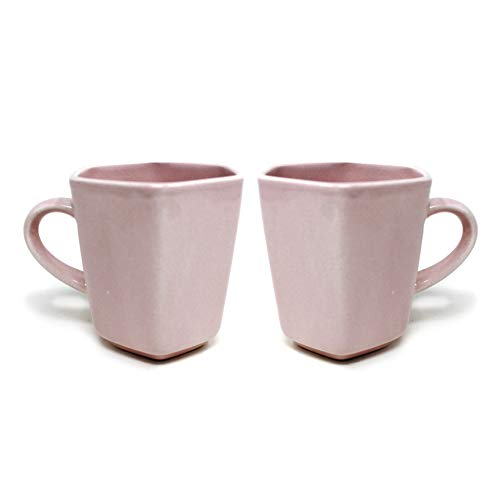 The Earth Store Ceramic Microwave Safe Pink Hexa Milk/Coffee/Tea Mug/Beverage Mug with Handle Ideal Best Gift for Friends, Anniversary, Valentine Day, Birthday (Set of 2, 320 ML)