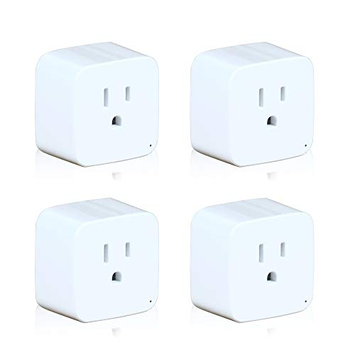 Smart Outlet SAMFIWI Mini Plug WiFi Compatible with Alexa, Echo, Google Home & IFTTT, No Hub Required, Remote Control Your Home Appliances from Anywhere, Only Supports 2.4GHz Network 4 pcs