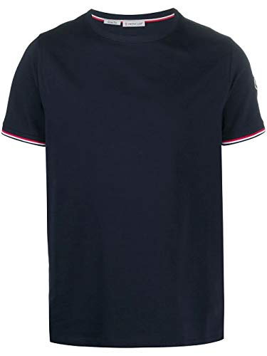 Luxury Fashion | Moncler Heren 8C7160087296778 Donkerblauw Katoen T-shirts | Seizoen Permanent
